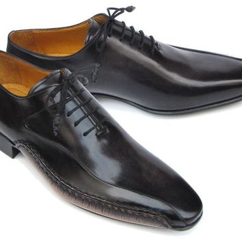 Paul Parkman Men's Black Leather Oxfords - Side Handsewn Leather Upper and Leather Sole (ID#018-BLK)