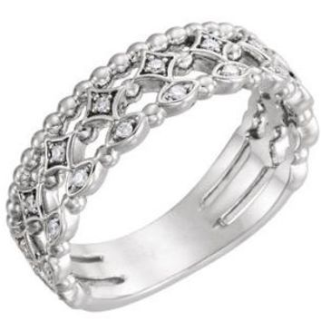 1/8 CTW Stackable Diamond .925 Sterling Silver Ring