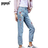 Gagaopt Elegant Flower Embroidery Jeans Female Light Blue Casual Pants Capris Autumn Winter Pockets Straight Jeans Women Bottom