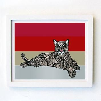 Cougar Zentangle Inspired Art Print Puma concolor by MayhemHere