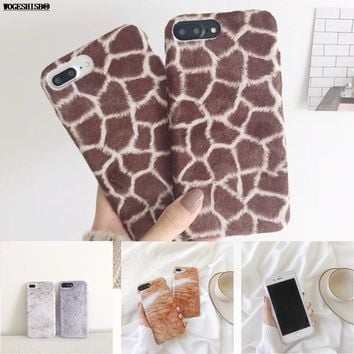 Artificial Animal Fur Case for iPhone 7 Cat Giraffe Rabbit Bunny Cony Plush Hair Silicone TPU Cover for iPhone 6 6S 7 8 Plus