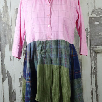 Pink and Green Upcycled Clothing Tunic Dress Plus Size Eco Fashion Lagenlook Country Dress Boho Chic