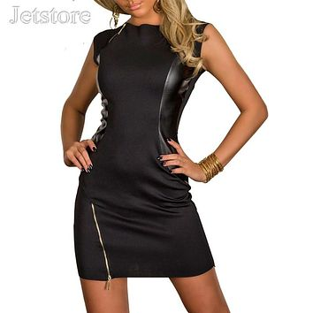 Plus size XL XXL New Rock Black Dress Fashion Faux Leather Dance Club Wear Patchwork Women Zipper Sexy Dresses clubwear 33 6910