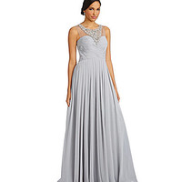 JS Collections Crystal Applique Chiffon Gown