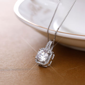 Jewelry Stylish Shiny New Arrival Gift 925 Silver Korean Simple Design Crystal Pendant Birthday Gifts Necklace [8026355335]