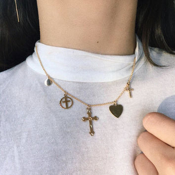 JOEY NECKLACE, Gold choker, charm necklace, cross choker, heart choker, gold charm necklace, choker with charms, 14k gold filled chain