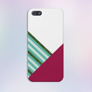 Burgundy x White x Teal x Turf Stripes Case for iPhone 6 6+ iPhone 5 5s 5c iPhone 4 4s and Samsung Galaxy s5 s4 & s3
