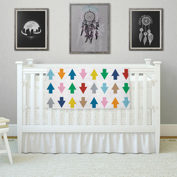 """Project M """"Arrows Up and Down White"""" Fleece Throw Blanket"""