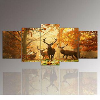 Deer Forest Picture Print On Canvas,The Picture For Home Decor 5 piece