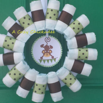 Monkey Baby Diaper Wreath