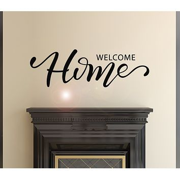 Vinyl Wall Decal Phrase Welcome Home Interiors Decor For Living Room Stickers Mural 28.5 in x 9 in gz041