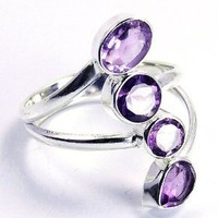 Classic Beauty Sterling Silver Amethyst Ring, Size 9.5