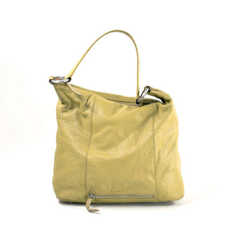 Lemon Mustard Leather Bag MILA PAOLI Purse Slouch Satchel