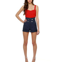Cute Navy Blue Shorts - High-Waisted Shorts