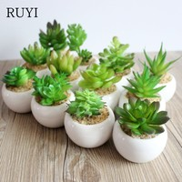 Artificial mini potted succulent plant decor