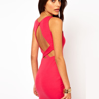 Pink Sleeveless Cross Strap Chest Cut-out Mini Dress