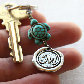Initial Keychain, Personalized Keychain, Monogram Keychain, Wax Seal Keychain, Turquoise Turtle Keychain, Personalized Gift for Man or Woman