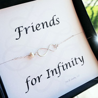 Friendship card with silver infinity bracelet, pearl bracelet, Bridesmaid gifts, figure eight, friendship bracelet