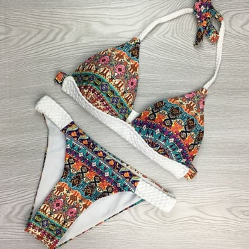 Fashion Retro Ethnic Print Halter Triangle Bikini Set Swimsuit Swimwear