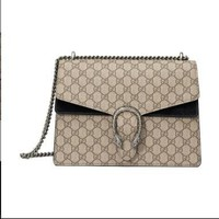 Gucci. Women Coated Canvas Suede Leather Shoulder Bag