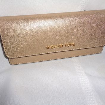 MICHAEL KORS JET SET TRAVEL FLAT WALLET SLIM CARD CLUTCH PALE GOLD LEATHER