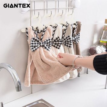 GIANTEX Cute Bowknot Dress Shape Super Soft Absorbent Microfiber Hand Towel Hanging Bathroom Kitchen Towel Cleaning Cloth U1128