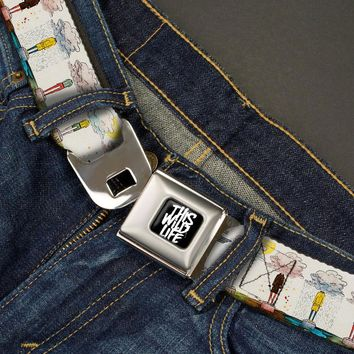 This Wild Life Men's  Clouded People Seatbelt Buckle Belt