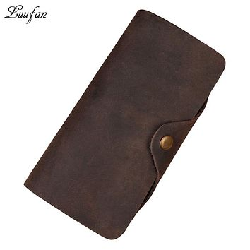 Men's Crazy Horse Leather three layer snap Long Wallet Real leather Trifold clutch Hasp Phone purse durable checkbook