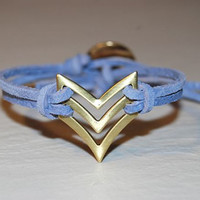 Chevron Bracelet  Sky Blue  Arrow  Native  by TwoOneButton on Etsy