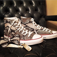 Custom Natural Python High Top Chucks