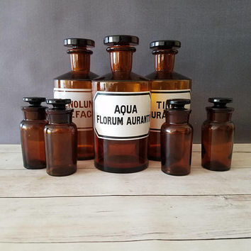 Apothecary Jars with glass lids/ Large Amber Apothecary Jars/ Apothecary Bottles/ Antique Apothecary Jars/ Glass Apothecary Bottles