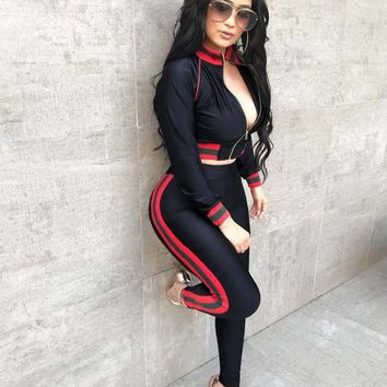 summer 2018 women tops and pants two piece set tracksuit women twotwinstyle LIIP 2 piece sets womens outfits 3352