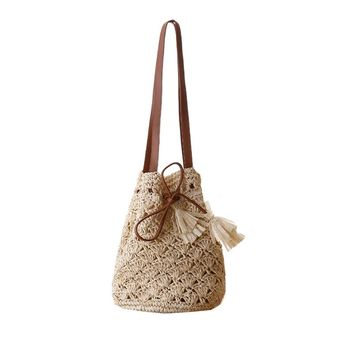 Tassel Drawstring Straw Beach Bags Casual Handmade Bohemia Holiday Summer One Shoulder Bags for Women Crochet Bucket Bag L58