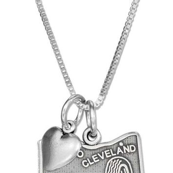 """Sterling Silver 18"""" Ohio State Pendant Necklace With Heart Charm"""