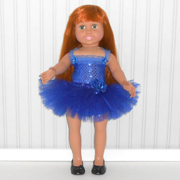 Royal Blue Dance Outfit for 18 inch Dolls with Sequin Leotard and Tutu American Doll Clothes