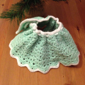 Doll Clothing - Handmade mint green and white crocheted cape for dolls or other toys