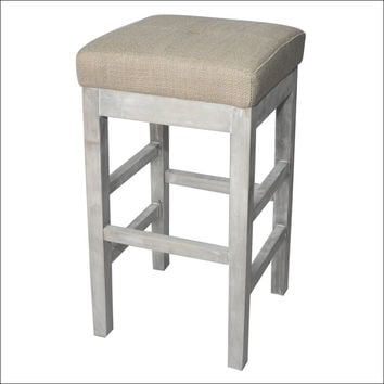 Valencia Backless Bar Stool Mystique Gray Legs, Barley