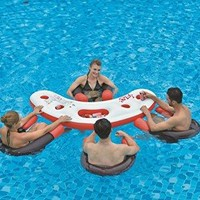 By PoolCentral 67 inch  Inflatable Red White and Black Floating Swimming Pool Bar Set