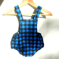 Blue Buffalo Plaid Romper, Baby Lumberjack or Baby Lumberjane,optional black faux leather bow and snap crotch, Infant Sizes