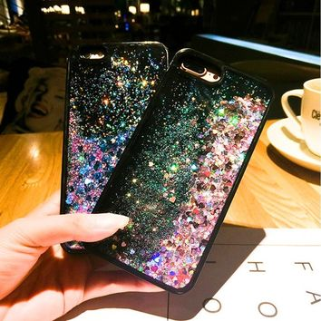 Love Heart Stars Glitter Stars Dynamic Liquid Quicksand Soft TPU Phone Back Cover Case For iPhone 5 5S  6 6S Plus 7 7 Plus