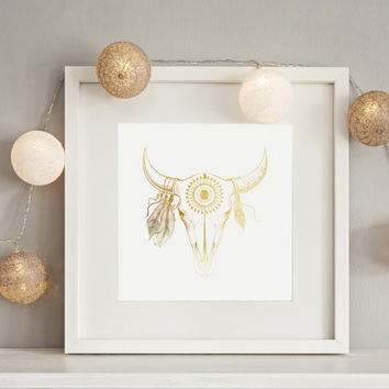 Real Gold Foil Print, Bull Skull Print, Skull Wall Art, Minimal Wall Art, Cow Skull, Tribal Bull Skull,11x14 print, Office Print, Home Decor