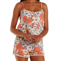 Ivory Combo Floral Print Flounce Romper by Charlotte Russe