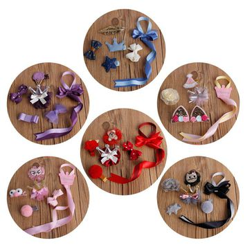 Korea Cute GirlS Crown Hair Clips Set Cartoon Character Flower Bow Knot Cloth Hairpins With Holding Ribbon Kids Hair Accessories