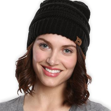 Cable Knit Beanie Thick Soft & Warm Chunky Beanie Hats for Women