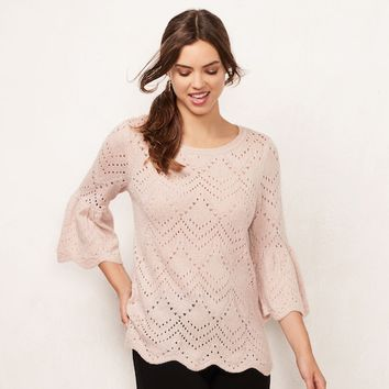 Women's LC Lauren Conrad Eyelet Crewneck Sweater