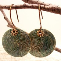 Patina wave earrings | Catcophony - Jewelry on ArtFire