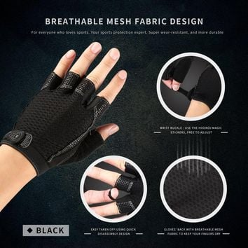 Aolikes Durable Wear-resistant Shock-resistant Pad Breathable Mesh Fabric Training Sports Gym Gloves With Wrist Buckle Free Ship
