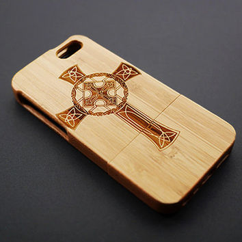 Cross Pattern Cherry Wood iPhone 5s Case - Real Wood iPhone 5 Case - Custom iPhone 5s Case Wood - Wooden iPhone 5 Case - Christmas Gift