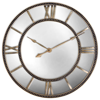 Mirrored Wall Clock in Antiqued Gold