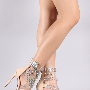 Transparent Strappy Buckled Studded Suede Stiletto Heel